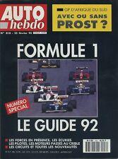 AUTO HEBDO n°818 du 25 Février 1992 GUIDE F1 1992