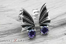 925 Sterling Silber, Edle Fledermaus-Ohrstecker mit Amethyst, Gothic