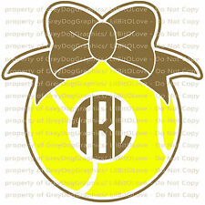 Custom Tennis Monogram Vinyl Decal 2 Colors Your Initials Bow on Ball Sticker