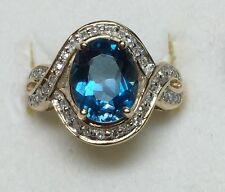 Natural DIAMOND + Blue topaz Ladies RING solid 10k yellow gold BEST DEALS