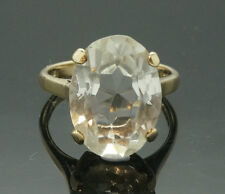 Vintage 9Ct Yellow Gold Oval Glass Solitaire Ring (Size M) 11x16mm