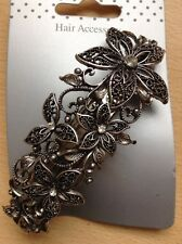 A Large Silver Antique Look Flower Design Metal Barrette Hair Clip