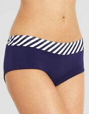 Figleaves Preppy Short Bikini Brief Navy Blue White Stripe 527 Size 8 NEW