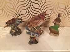 Great Collection Of 4 Ceramic Birds - Goshawk, Robin, Blue Tit And Partridge
