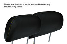 YELLOW STITCH 2X FRONT HEADREST LEATHER SKIN COVERS FITS HONDA PRELUDE 1986-1991