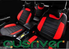 Black & Red Man Made Leather For Ford Focus Car Front & Rear Seat Cover Set