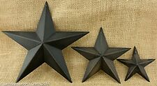 Lot of 3 Antique Black Metal Barn Stars 3 sizes  Rustic Country Primitive NWT