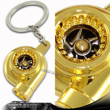 Gold Spinning Turbo Turbine Key Chain Lanyard Key Ring Keychain For MITSUBISHI