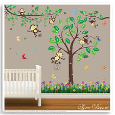 Monkey Wall Stickers Animal Jungle Zoo Nursery Baby Kids Bedroom Decals Art
