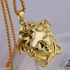 18k Gold Plated  MICRO Medusa HEAD PIECE Pendant Chain Hip Hop Necklace N37