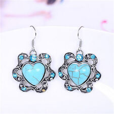 Fashion Women Jewelry Turquoise heart Pendant Tibet silver Hook dangle Earrings