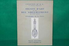 Catalogue ventes aux enchères GALLIERA 1962 Objets d'art céramique Chine meubles