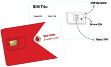 Vodafone prepay pay as you go SIM Card trio sim size - (buy 1 get 1 free)