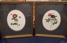 "Set of 2 FRAMED Matted WALL PICTURES  13"" x 15"" Floral design"
