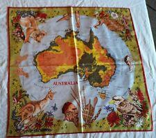 Vintage HEIL SCARF Australia map Acetate Kangaroos Koala Emu Kookaburra Floral