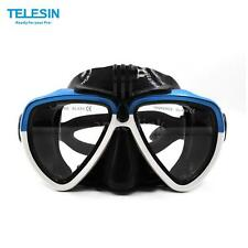TELESIN Scuba Diving Mask Goggles Swimming FaceMask Bracket Mount for GoPro Blue