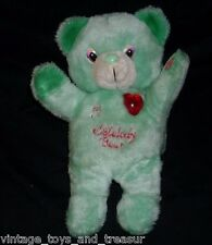 "11"" VINTAGE MY MELODY TEDDY BEAR GREEN STUFFED ANIMAL PLUSH TOY MUSICAL CMSON"