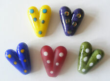 5 Handmade Lampwork Glass Heart Beads SRA - Mix