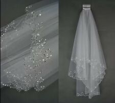 Bridal Wedding Ivory Veil 2 Tier Handmade Elbow Beaded With Comb