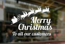 MERRY CHRISTMAS CUSTOMERS WINDOW SANTA ART STICKER XMAS VINYL SHOP SIGN RETAIL