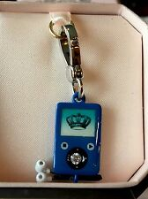 JUICY COUTURE Authentic SILVER &BLUE Rare Pave IPOD, MP3 PLAYER CHARM NWT