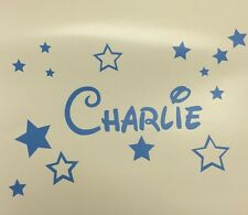Disney Style Personalised Wall Art, Childs Name & Stars, Vinyl Decal Sticker