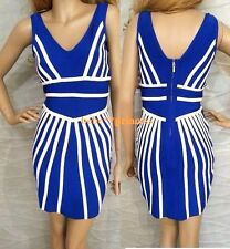 NWT bebe white blue colorblock zipper back deep v bandage top dress XL 10 12