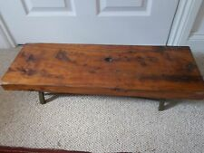 VINTAGE ELM AND BRASS LOW TABLE MID 20TH CENTRY HAND MADE ART