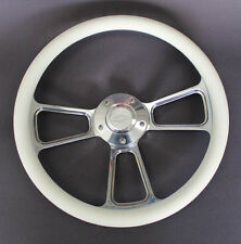 "Chevelle Nova Camaro Impala 14"" Steering Wheel White Billet Chevy Bowtie Cap"