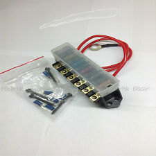 * 6 CIRCUIT ATC/ATO RAISED FUSE BLOCK  WITH  HOT WIRE LEAD, FUSE & TERMINAL  *