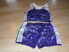 Child Size Large AXIS Metallic Purple Silver Dance Gymnastics Outfit Shorts Top