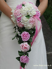 Bridal bouquet Roses cream/rosa/pink with Bling, wedding. Bridal Wedding dress