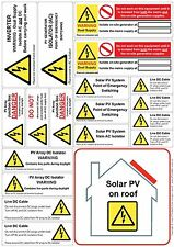 10 Sheet Pack - Solar PV AC DC Electrical Safety Warning Sticky Labels (A4/19)