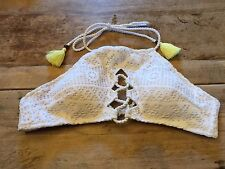 "White Crochet~MED~Victoria's Secret ""LACE UP HIGH NECK HALTER"" Bikini Swim TOP"