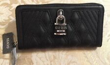 NWT GUESS Women's ADORN SLG  Zip Around Quilted Wallet Black Lock Guess NWT