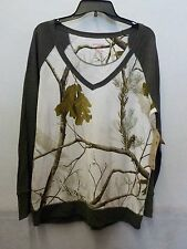 WOMENS SIZE XLARGE NORTHCREST REALTREE AP SNOW CAMO THERMAL SHIRT NEW 515^