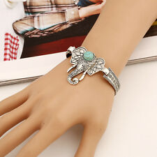 Charm Turquoise Bangle Jewelry Boho Retro Silver Plated Cute Elephant Bracelet
