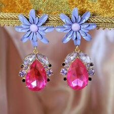 Boucles d`Oreilles Clip Pendante Grosse Fleur Goutte Rose Monderne Cadeau B7