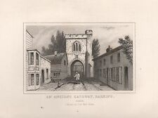 1845 ANTIQUE PRINT-DUGDALE- ESSEX - FIRE BELL GATE, BARKING