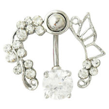 Clear butterfly belly ring top down navel piercing reverse CZ 14G flower
