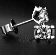 Classic Jewelry Mens 925 Silver White Sapphire Earrings Studs a pairs