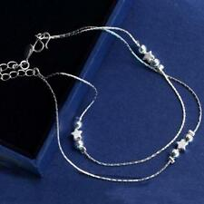Beaded Star Sexy 925 Silver Anklet Foot Double Chain Ankle Bracelet UK Seller