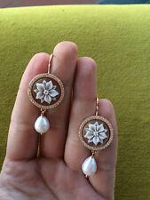 Orecchini in argento 925 Rosè Cammeo sardonico zirconi perla made in Italy