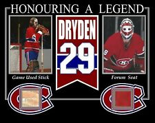KEN DRYDEN HONOURING A LEGENDS PHOTO W/ GAME USED STICK & MONTREAL FORUM SEAT