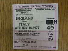 16/11/1977 Ticket: England v Italy [At Wembley] Pink & White, South Stand Seat,