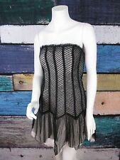 Forever 21 Formal Black White Steampunk Lace Goth Cosplay Prom Mini Dress 10