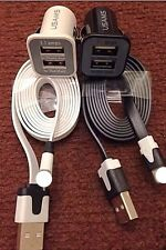 2x IOS8 SYNC USB CABLE + 2x DUAL PORT 12V CAR CHARGER FOR IPHONE 5/5s/5c/6 IPAD