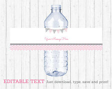 Modern Pink Chevron Water Bottle Labels Printable Editable PDF
