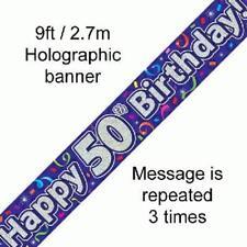 50th Birthday Viola Olografico Buon Compleanno Party Banner 2.7m (9ft) di lunghezza