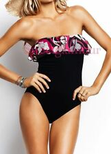 $118 Seafolly Carnaby Thai Strapless Ruffle Bandeau Maillot Swimsuit 6 US 10 AU
